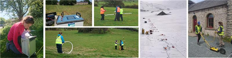 A series of images of students using geophysical field equipment in practice