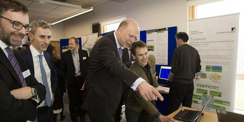 Secretary of State for Transport, Chris Grayling, visits the Institute for Transport Studies at University of Leeds.