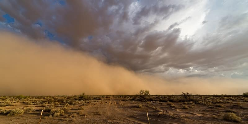 dust storm over the desert