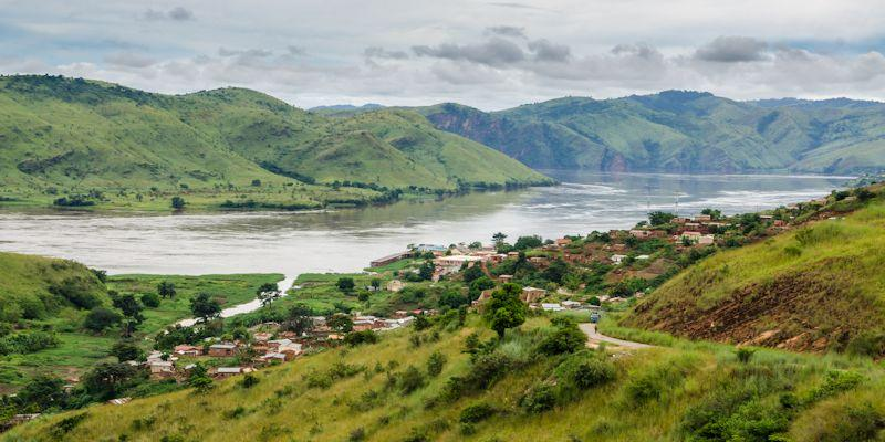 Picture from a hill of a village by Congo River