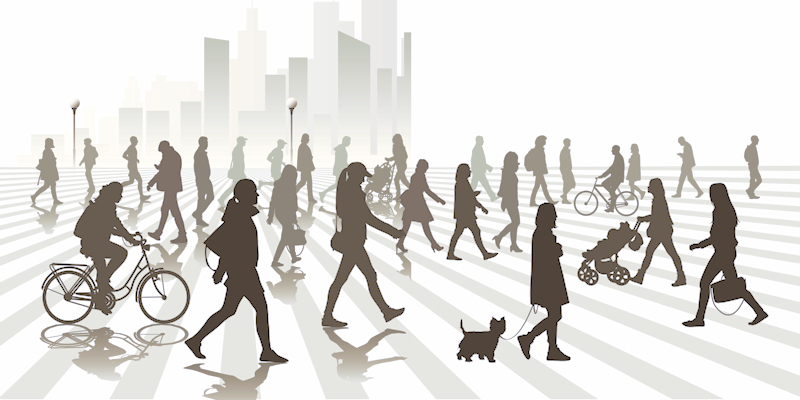 Illustration of walking people in city