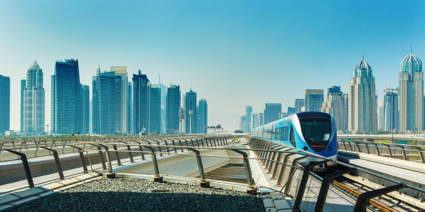 Metro railway and fully automated train in Dubai, United Arab Emirates