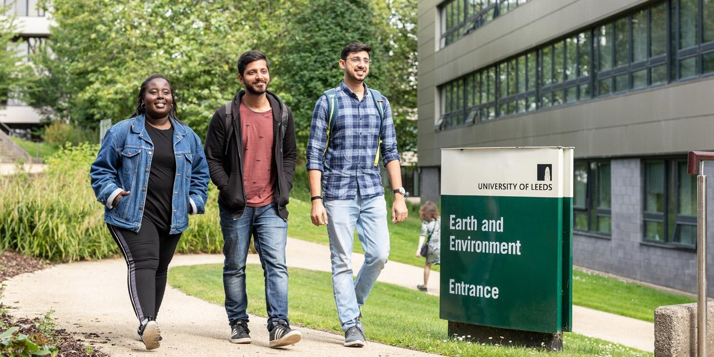Students walking in front of the School of Earth and Environment,