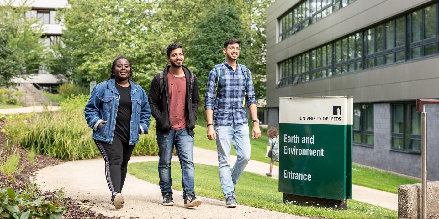 Students walking in front of the School of Earth and Environment