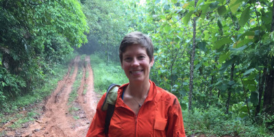Dr Sarah Batterman on site in a tropical forest