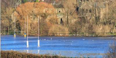 Image of a rugby pitch flooded in Kirkstall, Leeds