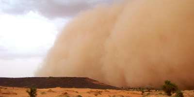 A sandstorm in sub-Saharan Africa