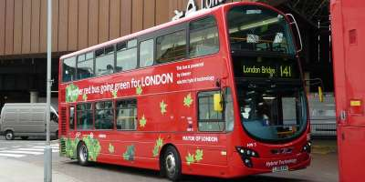 An hybrid red London bus